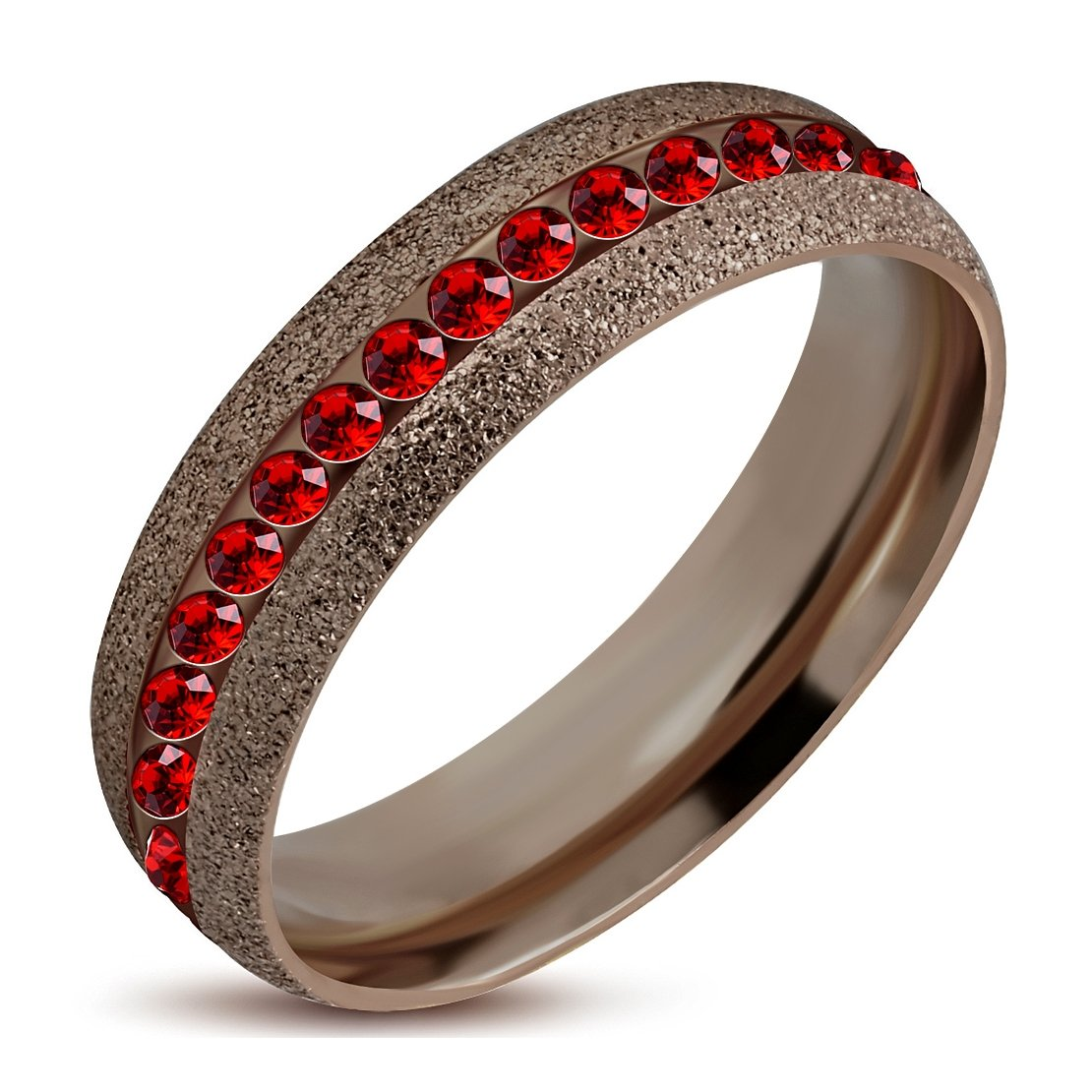 Stainless Steel Brown Sandblasted Channel-Set Eternity Comfort Fit Band Ring with Light Siam Red CZ