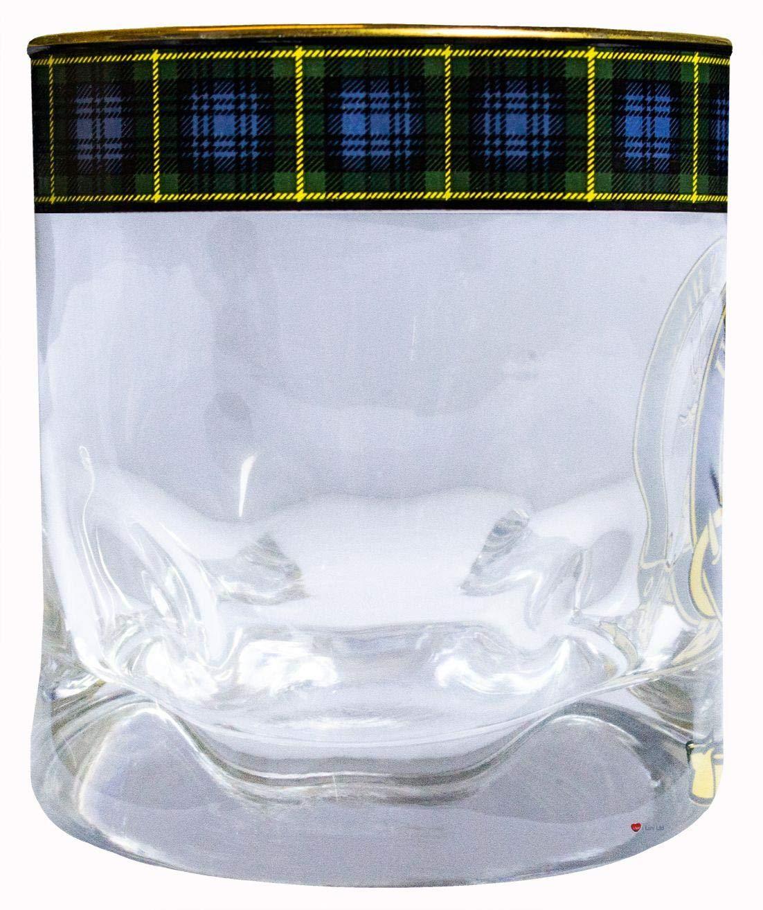 iLuv Bicchiere di Whisky Gordon Highlanders Cresta di Clan Orlo doro Tartan Bordatura Base Pesante