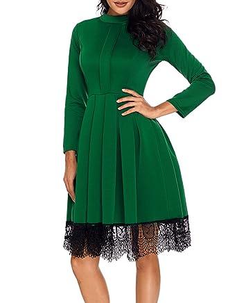 TOUVIE Damen Elegant Langarm Kleid Kurz Abendkleid Swing Festliche Kleider  Gr.36-48  Amazon.de  Bekleidung 2f39665b2f