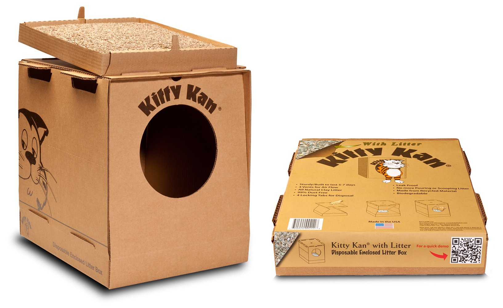 Kitty Kan with Litter Quality Disposable Enclosed Litter Box by Kitty Kan