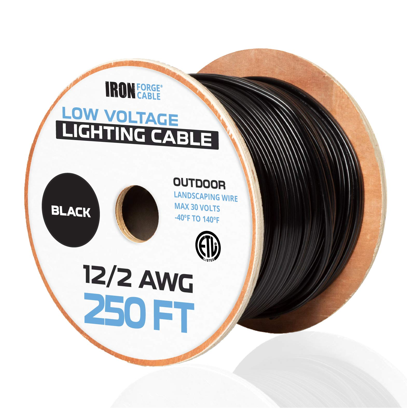 12/2 Low Voltage Landscape Wire - 250ft Outdoor Low-Voltage Cable for Landscape Lighting, Black by Iron Forge Cable