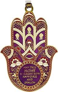 TALISMAN4U Purple Enamel Hamsa Wall Hanging Home Decor Evil Eye Protection Amulet (Purple Enamel English Blessing)