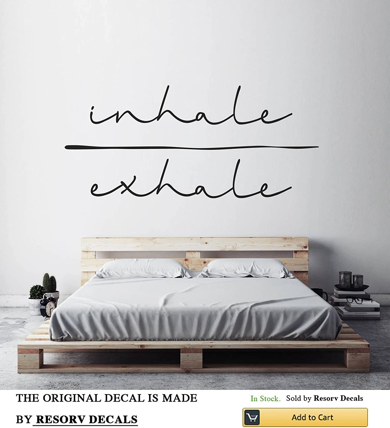 """Inhale Exhale Vinyl Wall Decals - Removable Decor Art Stickers for Bedroom Living Room Kitchen - Large Decal Sticker - Home Yoga Studio Decor for Women Men Girls (w 40"""" h 17"""")"""