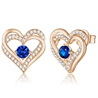 Forever Love Heart Women Earrings 925 Sterling Silver Rose Gold Plated Birthstone Stud Earrings for Women with 5A Cubic Zirconia Valentine's Jewelry Gift Birthday Gift for Mom Women Wife Girls Lady Her