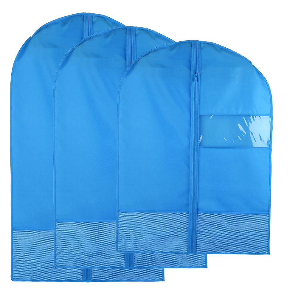 Breathable Dust-Proof Garment Bag with Clear Window and 2 Mesh Pockets, Anti-Moth Durable Oxford Cloth Suit Covers with Zipper for Suit, Dresses, Linens, Storage or Travel Pack of 3 (S,M,L, Blue)