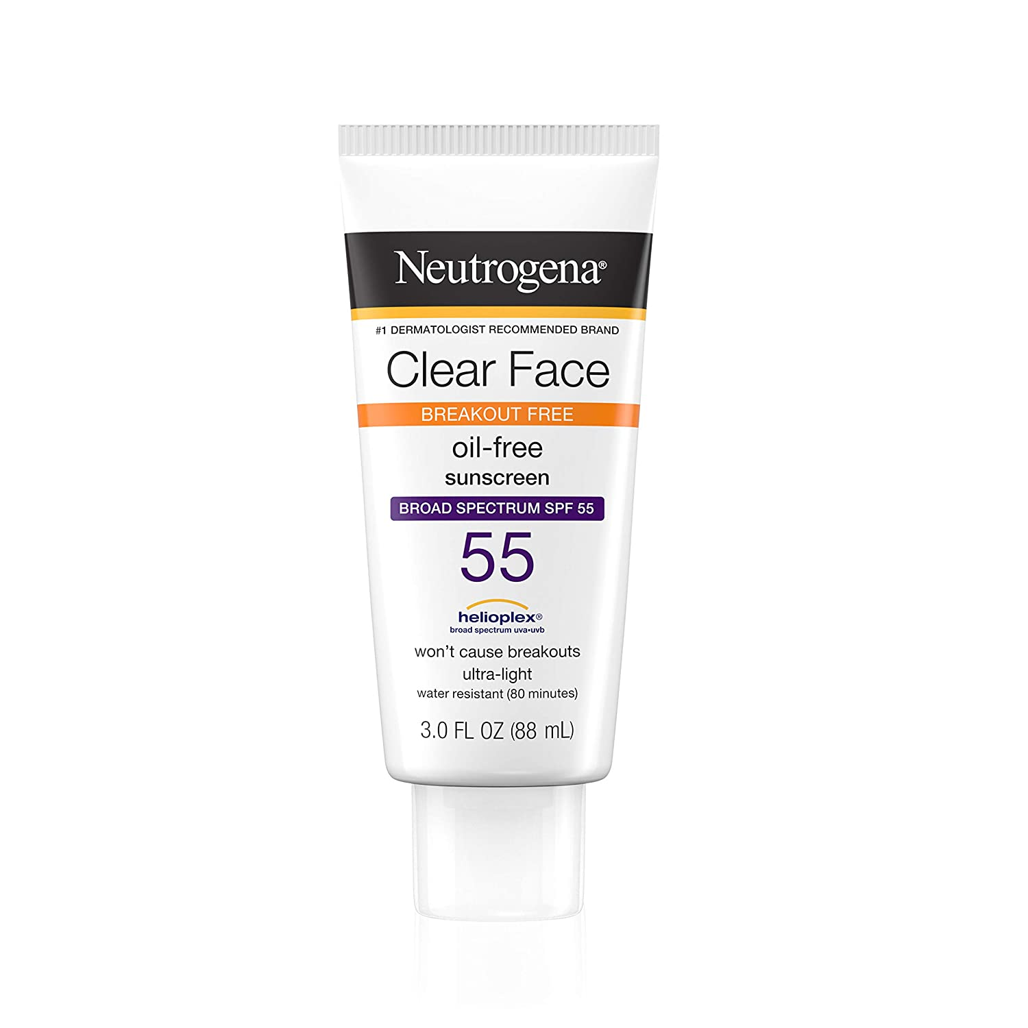 Neutrogena Clear Face Liquid Lotion Sunscreen for Acne-Prone Skin, Broad Spectrum SPF 55 with Helioplex Technology, Oil-Free, Fragrance-Free & Non-Comedogenic, 3 fl. oz