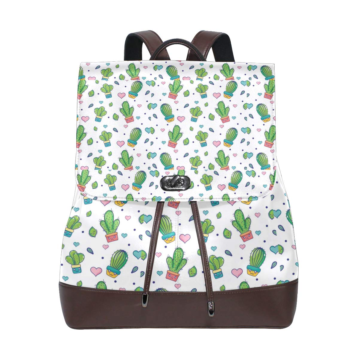 Leather Natural Cactus Plant House Backpack Daypack Bag Women