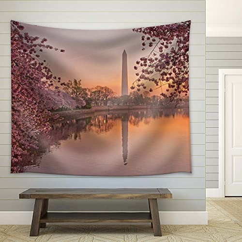 wall26 – Cherry Blossom Festival at The National Mall Washington, DC – Fabric Tapestry, Home Decor – 68×80 inches