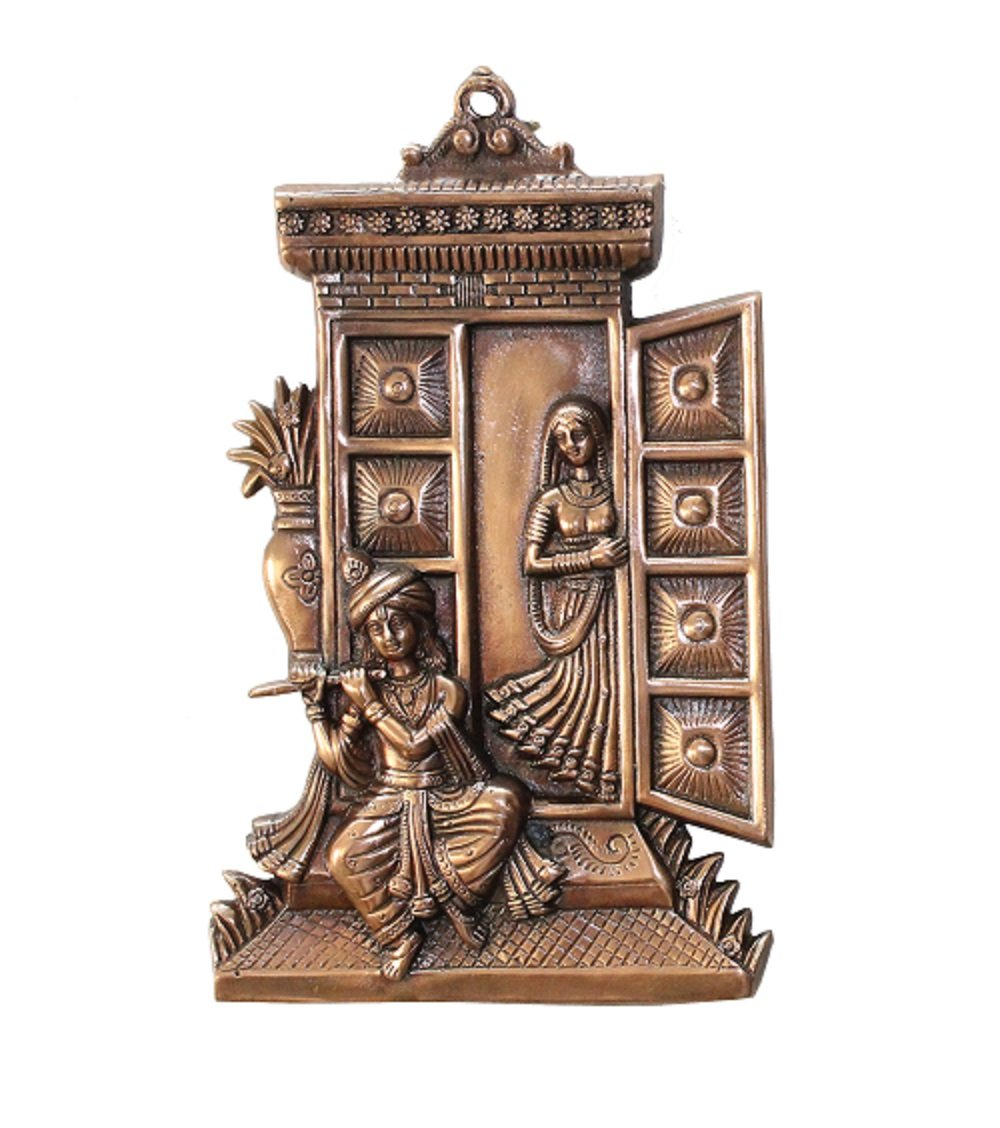 Buy apka mart the online shop metal hand crafted radha krishna wall hanging religious wall hangings 13 inch for home decor standard size brown online at