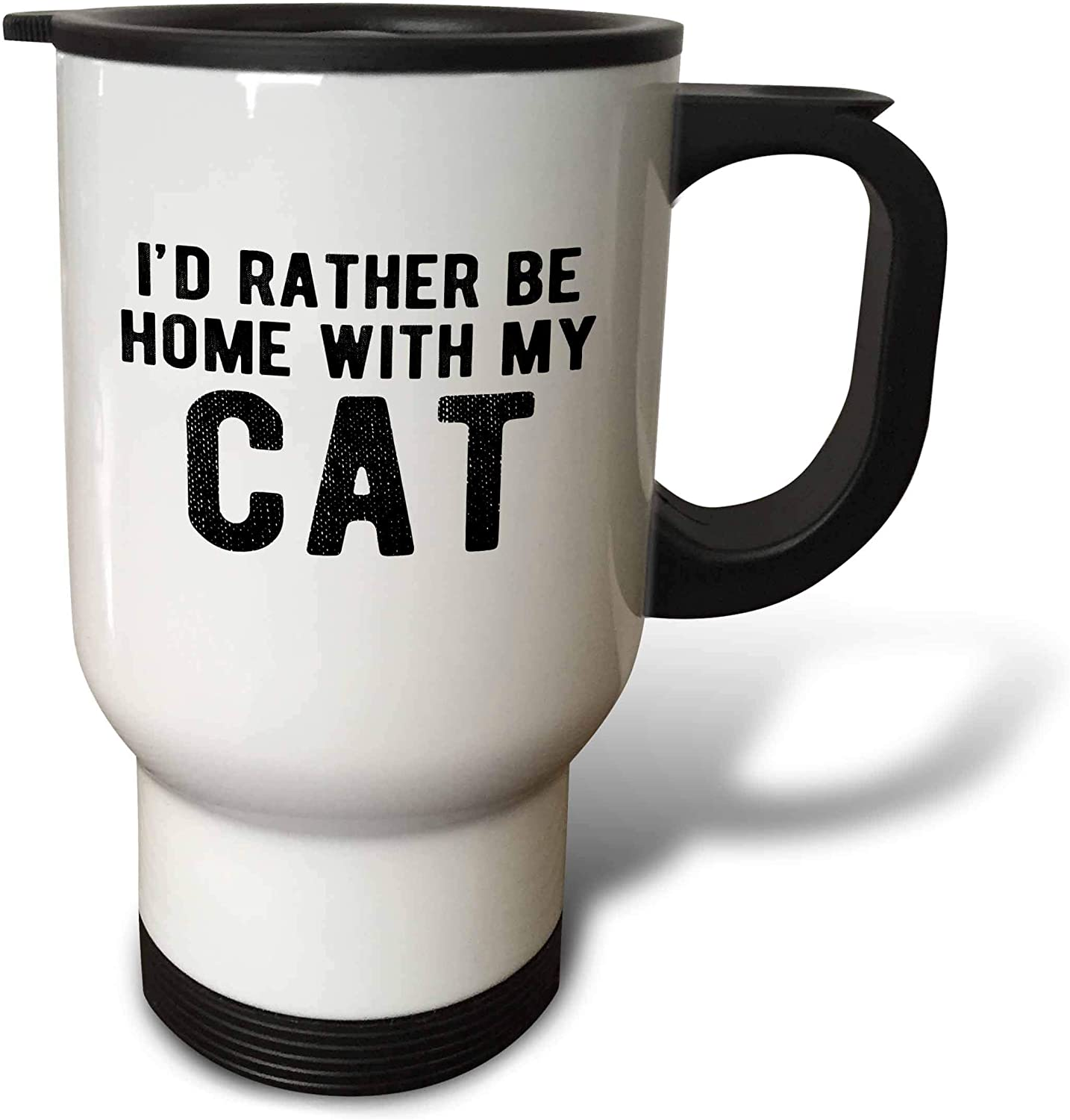3dRose Id rather be home with my cat. Black lettering on white. - Travel Mugs (tm_326917_1)