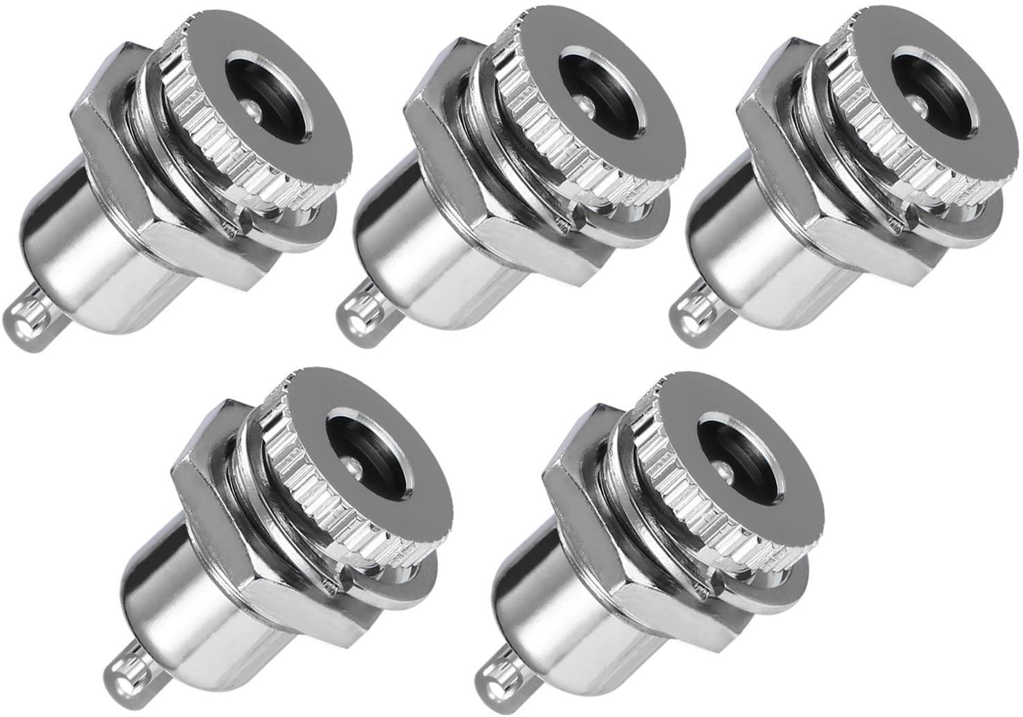 E-outstanding 5-Pack DC-099 5.5 mm x 2.1mm 30V 10A DC Power Jack Socket,Threaded Female Panel Mount Connector Adapter