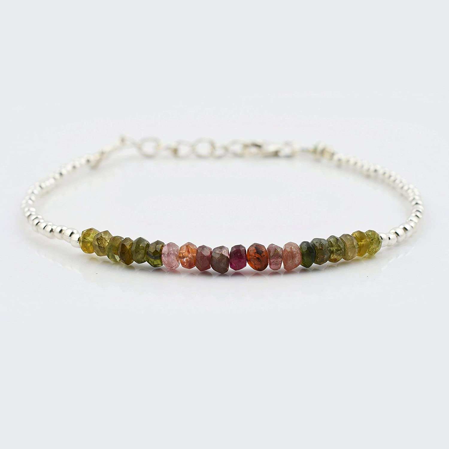 Watermelon Tourmaline Rondelle Beads Bar Bracelet with Sterling Silver Findings Birthstone Jewelry