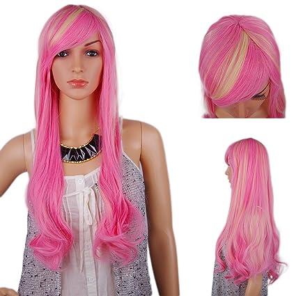 spretty brillante amarillo rosa Ombre color larga recta peluca con pequeñas Wavy peluca para disfraz cosplay
