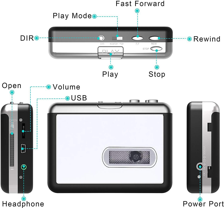 USB Cassette Capture Portable Walkman Cassette Player Tape to MP3 ...
