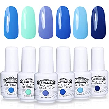 Amazon.com : Perfect Summer 6PCS Color Gel Nail Polish UV Gel Nails ...