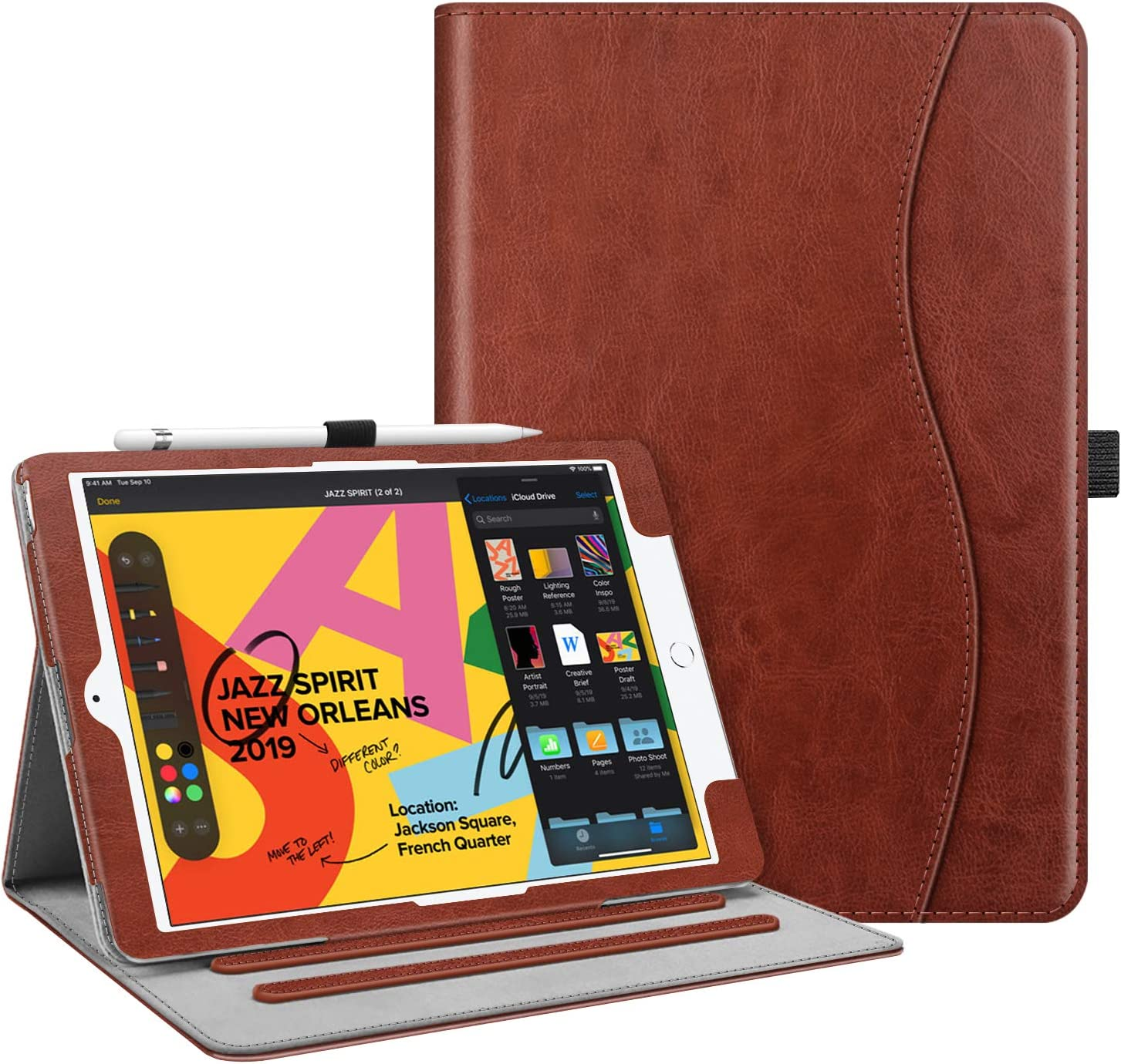 """Fintie Case for New iPad 7th Generation 10.2 Inch 2019 - [Corner Protection] Multi-Angle Viewing Folio Smart Stand Back Cover with Pocket, Pencil Holder, Auto Wake/Sleep for iPad 10.2"""", Vintage Brown"""