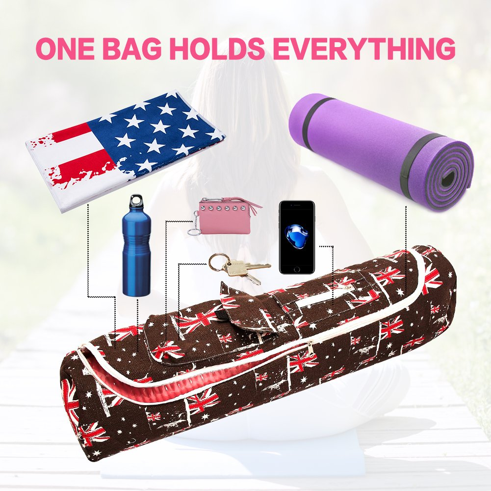 TUONROAD Yoga Mat with Bag British Flag Printing for Womens Sling Bag Thick Yoga Mat Tote Bag with Full Zipper and Pocket