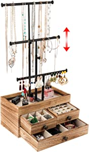 X-cosrack Jewelry Tree Stand Organizer 3 Tier Metal Jewelry Holder Stand with Wood Basic Storage Box, Adjustable Height Holder Display for Necklaces Earrings Bracelets and Rings, Carbonized Black