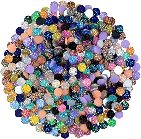 200 Pieces Druzy Resin Cabochons 20 Colors Faux Druzy Cabochons Flat Back Dome Cabochons with 20 Pieces Stainless Steel Stud Earring for Jewelry Making DIY Craft 8 mm