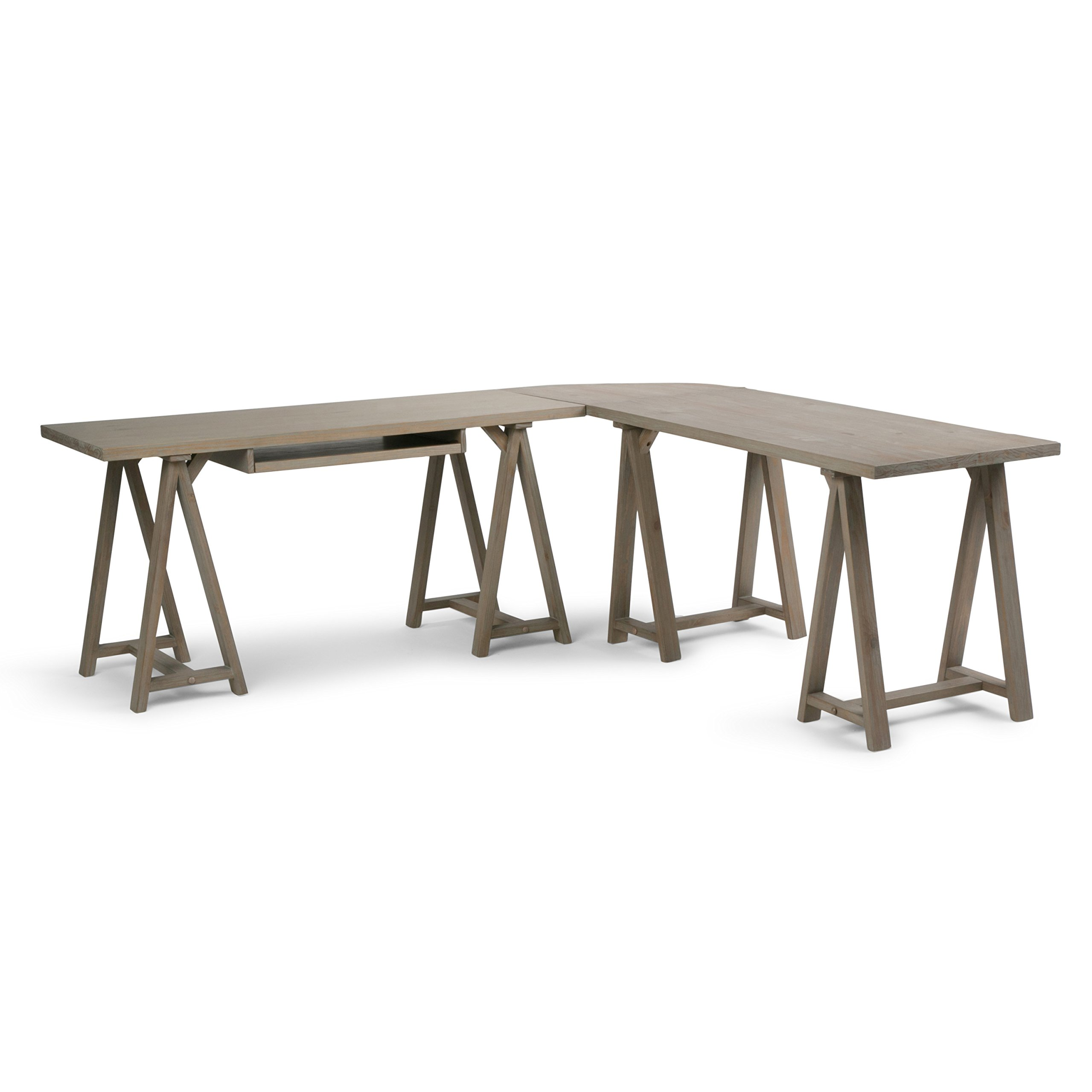Simpli Home Sawhorse Solid Wood L-Shape Corner Desk, Distressed Grey by Simpli Home (Image #1)