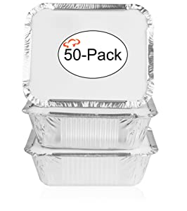 Tiger Chef Oblong Tin Foil Pans with Lids, Disposable Aluminum Freezer to Oven Safe Containers, 1-Pound, for Takeout, Baking, Cooking, Storing and Freezing (50,1-Pound with Board Lids)