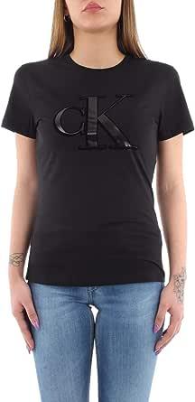 Calvin Klein Flock Monogram CK Slim tee Camisa para Mujer