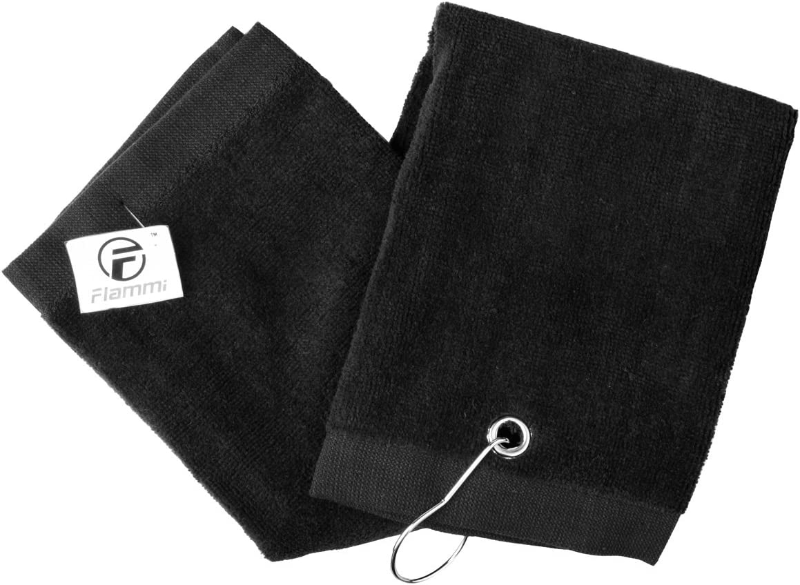 Flammi Tri-Fold Golf Towel with Clip