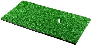 "Halomy Golf Hitting Mat 12""x24"" Portable Golf Mat Practice Hitting Mat with Rubber Tee Holder Realistic Grass Turf Mat Golf Training Mat for Indoor Office Equipment"