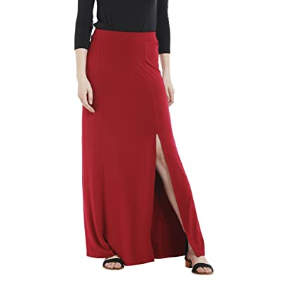 20Dresses Womens Solid Knit Long Maxi Slit Skirt Small Red at Amazon Women's Clothing store