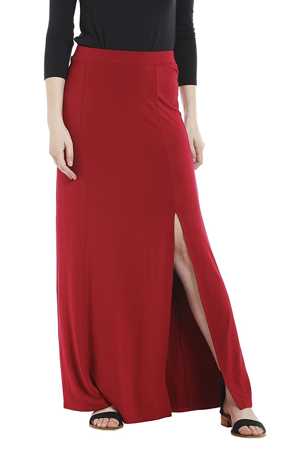034a0b182c Design: Red Viscose Knit With Spandex Maxi Skirt. Stretch fabric with a  waistband on top. Flared Round Bottom with a slit till mid thigh. Skirt  Length: Maxi ...