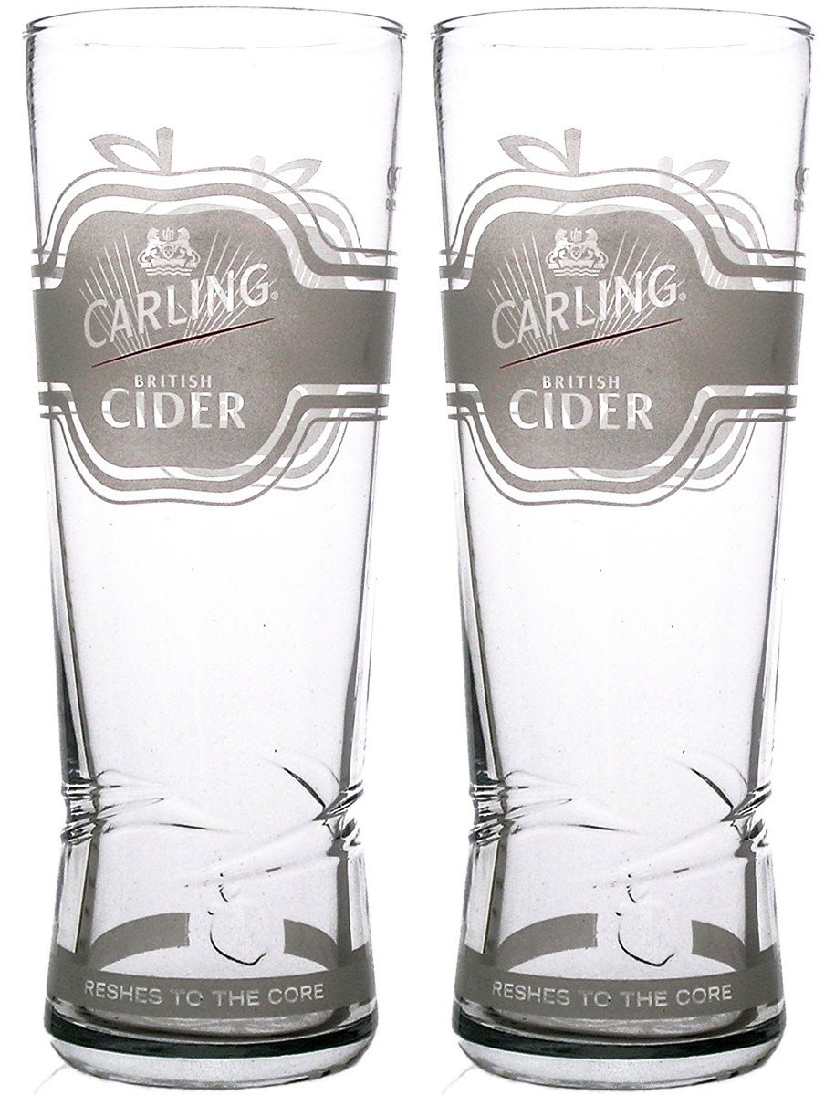 2 x Carling British Cider Pint Glass (2 Glasses)