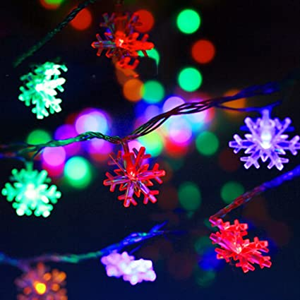 decorative lights botitu 72 feet novelty battery christmas tree lights with 20 snowflakes led string