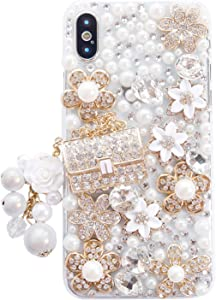 iPhone SE 2020/iPhone 8/iPhone 7 Women Case, DMaos Handbag Design Sparkly Rhinestone Cover, Cute Girly Bling Diamond Snow Flower, Premium for iPhone 4.7 inch