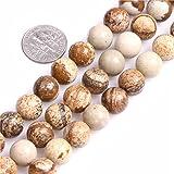 10mm Round Gemstone Picture Jasper Beads Strands 15 Inch Jewelry Making Beads