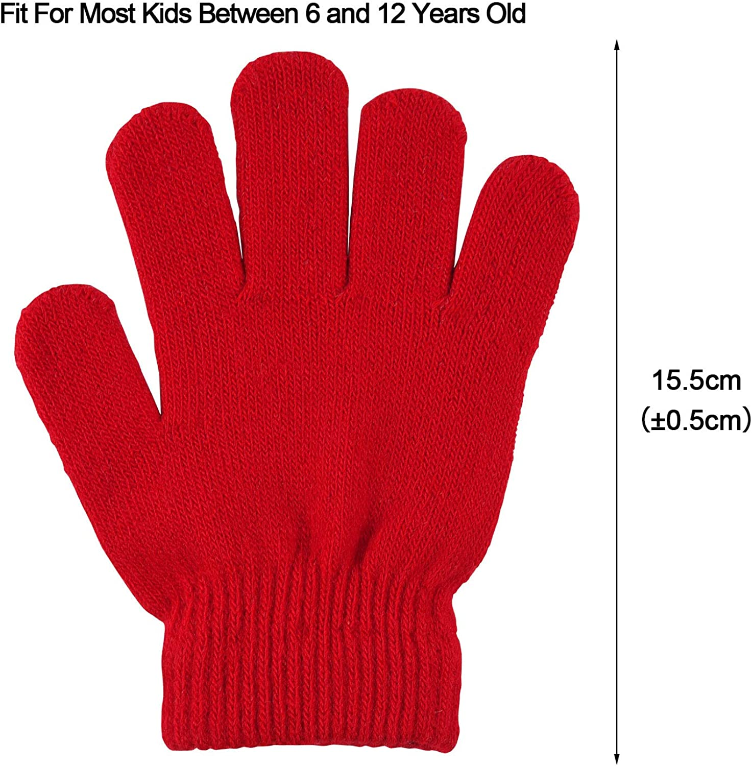 MENOLY 8 Pairs Winter kids Gloves Kids Knit Gloves Warm Stretchy Knitted Magic Gloves for Little Girls Boys Teens