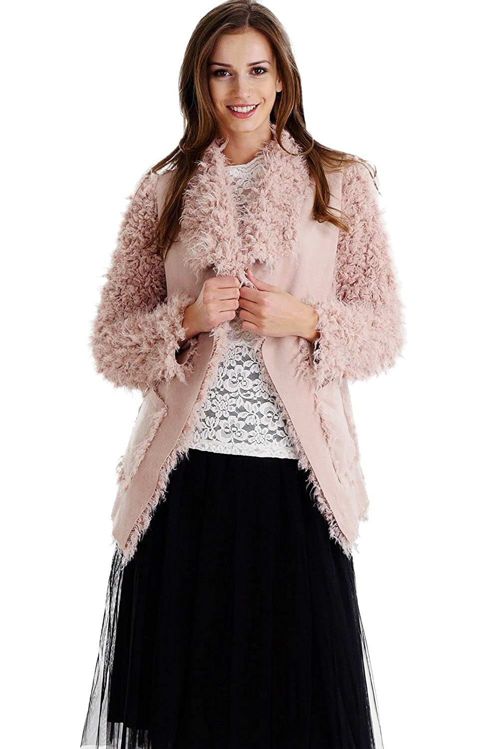 F139 Pink Melody Faux Fur Jacket with Faux Leather Belt
