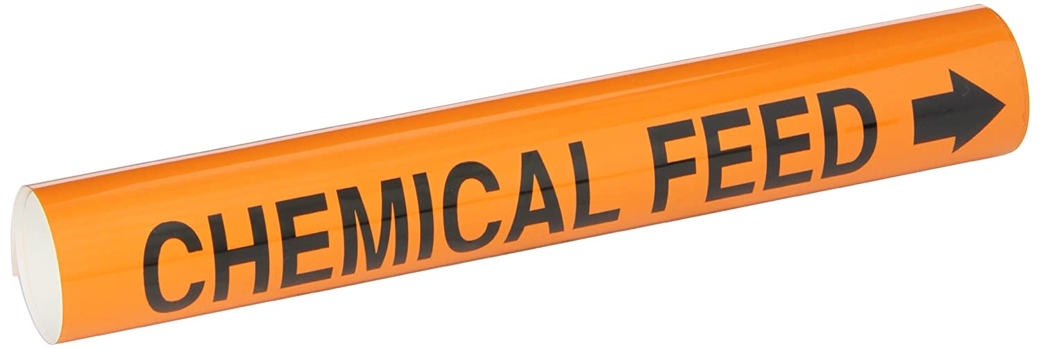 Brady 5808-I High Performance Legend Chemical Feed Wrap Around Pipe Marker B-689 Black On Orange Pvf Over-Laminated Polyester