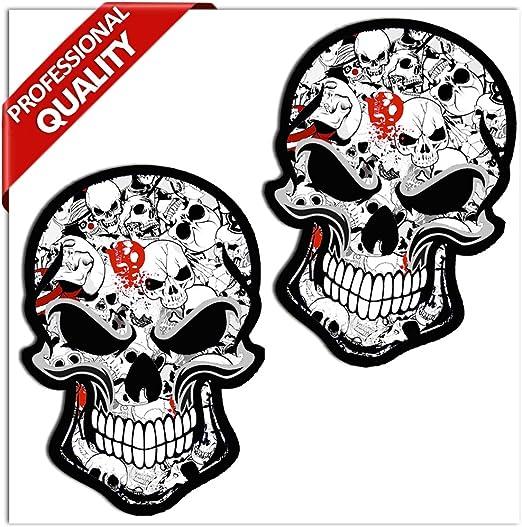 SkinoEu® 2 x PVC Laminado Adhesivos Pegatinas DC Stickers Bomb Calavera Cráneo Punisher para Motociclista Autos Coches Motos Ciclomotores Bicicletas Ordenador Portátil Regalo B 52: Amazon.es: Hogar