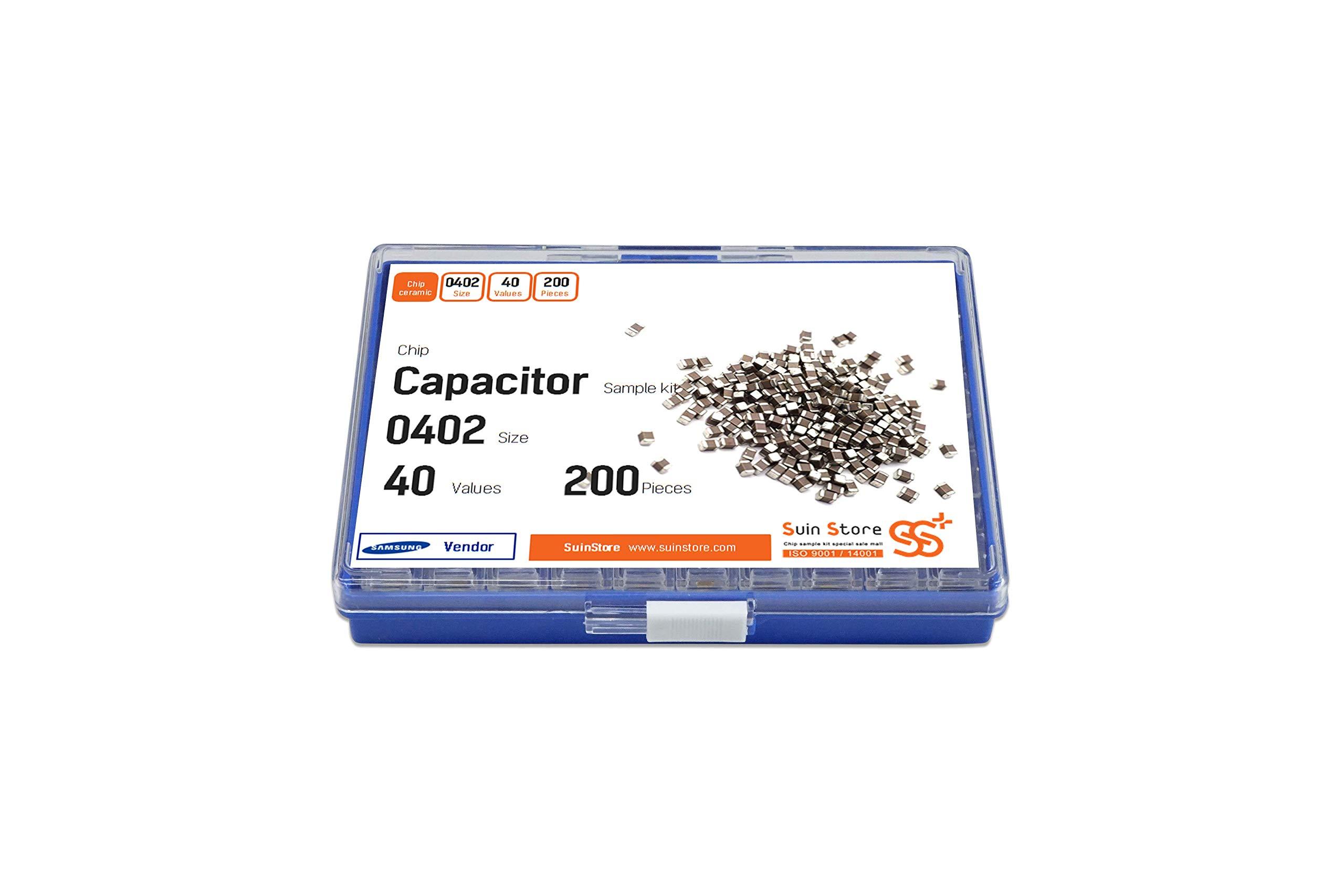 SMD Chip Capacitor Assortment Kit 0402, 0.75pF ~ 4.7uF, 40 Values, 200pcs per Value