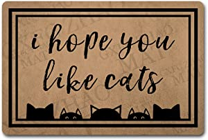 Funny Welcome Door Mats Decorative Area Rugs for Entrance Way Indoor Doormat I Hope You Like Cats Personalized Monogram Kitchen Rugs and Mats with Anti-Slip Rubber Back Novelty Gift(23.6 X 15.7 in)