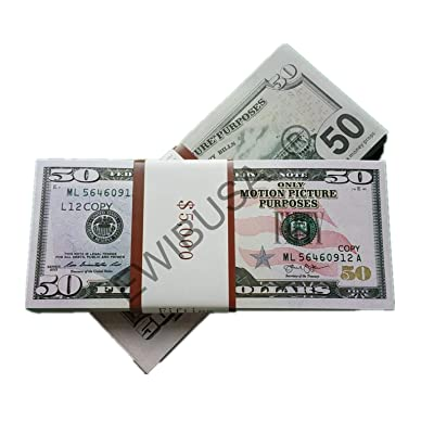 EWIBUSA Prop Money Total of 5.000 Dollars 50X100 Pcs Size : 6.14x2.59 in Play Money Magician Porp,Movie Props: Toys & Games [5Bkhe1104491]