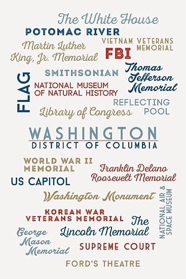 Washington DC 24x36 Giclee Gallery Print, Wall Decor Travel Poster Typography