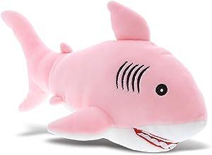 DolliBu Pink Shark Baby Soft Plush Toy, Newborn Babies First Stuffed Animal Cuddle & Snuggle Toys, Toddler's Huggable Best Buddy, Fluffy Teddy Bear Stuffed Shark Toy for Little Girls & Boys - 12 Inch