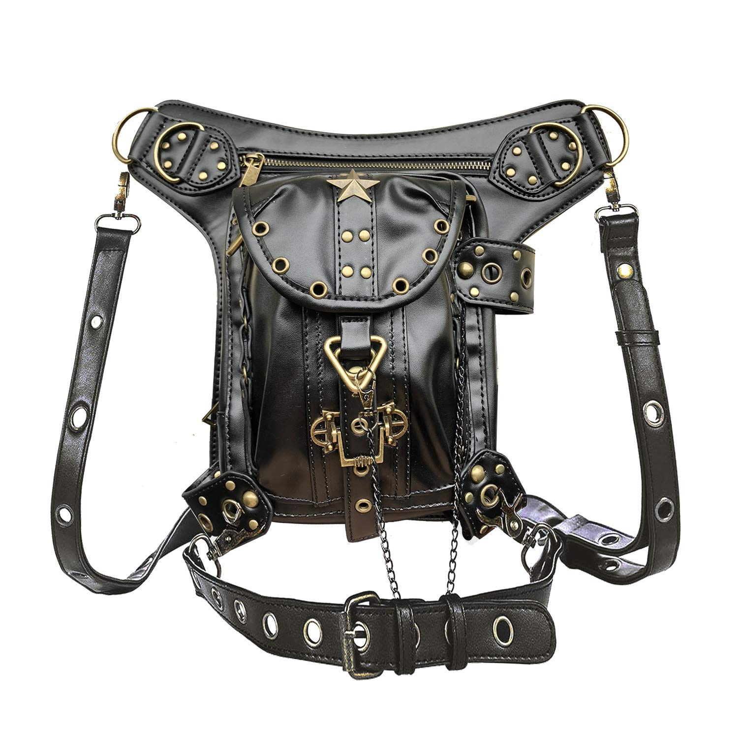Valentoria Mens Womens Steampunk Punk Waistbag Shoulder Bag Crossbody Bag Thigh Leg Hip Holster Purse Belt Pouch Travel Chain Bags Leather Hiking Packs Handbag Messenger Bags easygogo