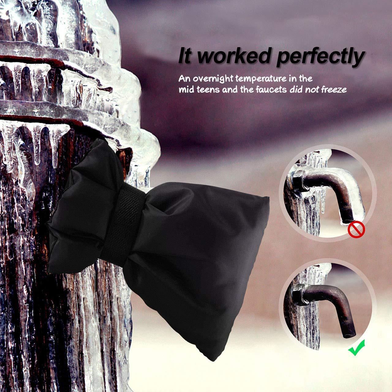 Serendipper Outdoor Faucet Covers Protector, Faucet Socks for Winter, 8.66\'\'x 6.3\'\', 210D Oxford Reusable Faucet Insulation, 3 Pack