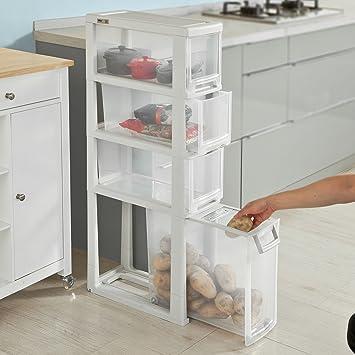 SoBuy® Scaffale salvaspazio da terra,Mobiletto per cucina o bagno ...