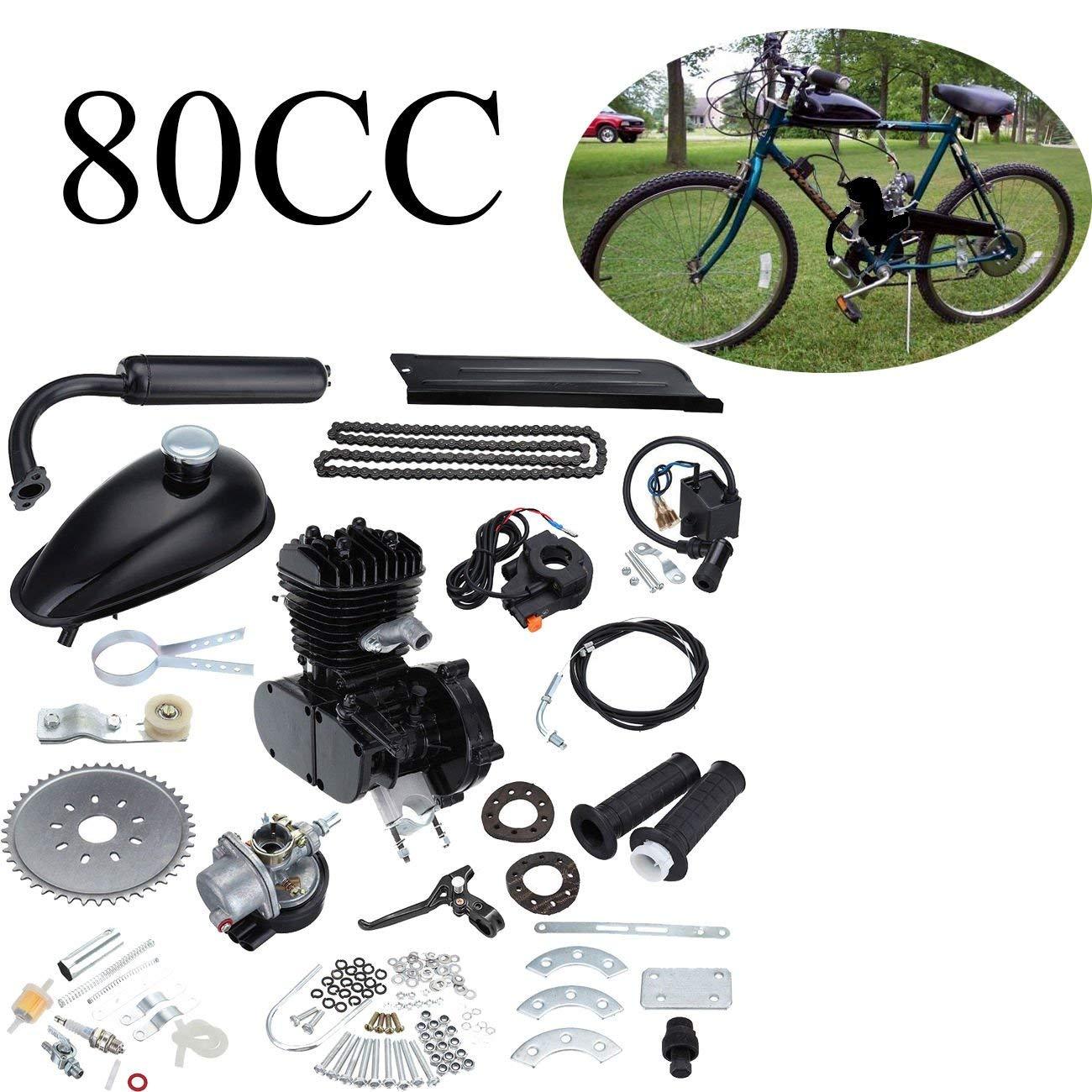 Ambienceo 80cc 2 ciclos de pedaleo Kit de conversión de bicicleta de gasolina para motor de gasolina para bicicleta motorizada negra: Amazon.es: Coche y ...
