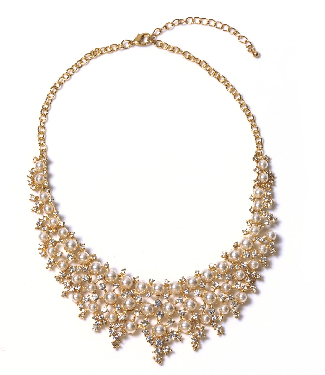 VK Accessories Statement Pearl Bid Queen Costume Crystal Necklace Luxurious Filigree Beaded Jewelry Gold Collar