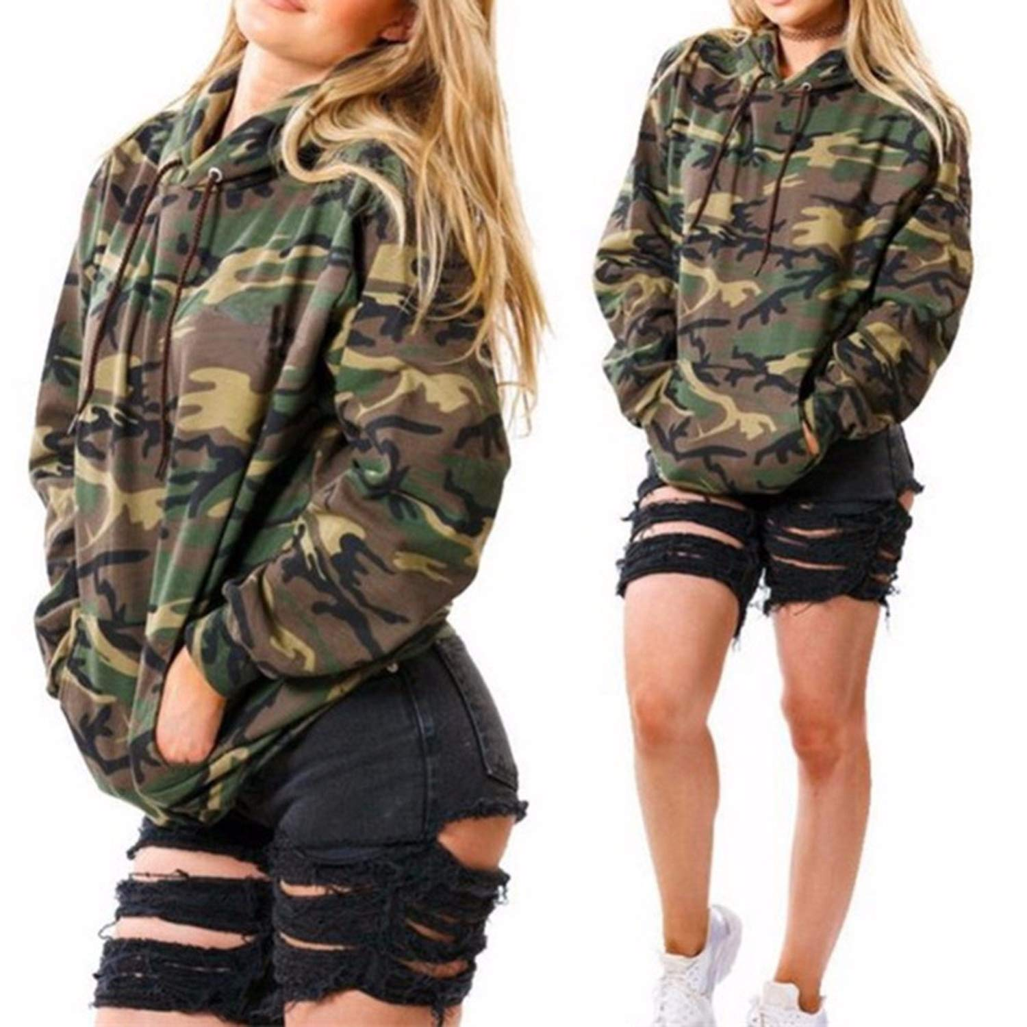 Amazon.com: Little Happiness- Fashion Camouflage Women Sweatshirt Army Hoodies Pullover Womens Hoodies Female Sweatshirts: Clothing