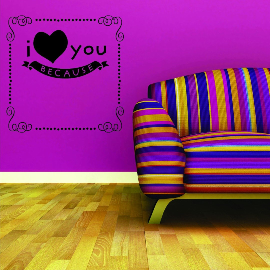 Design with Vinyl RAD 842 2 I Love You Because Frame Fancy Print Wall Decal 16 x 16 Black